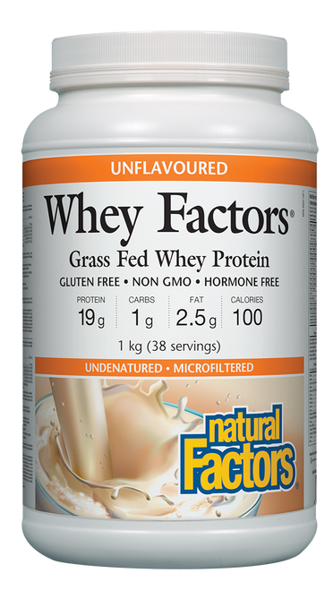 Natural Factors: Whey Factors Grass Fed Whey Protein - Unflavoured (1kg)