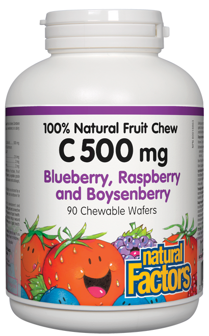 Natural Factors: Vitamin C (500mg) Natural Fruit Chews Blueberry / Raspberry / Boysonberry (90 Chewables)