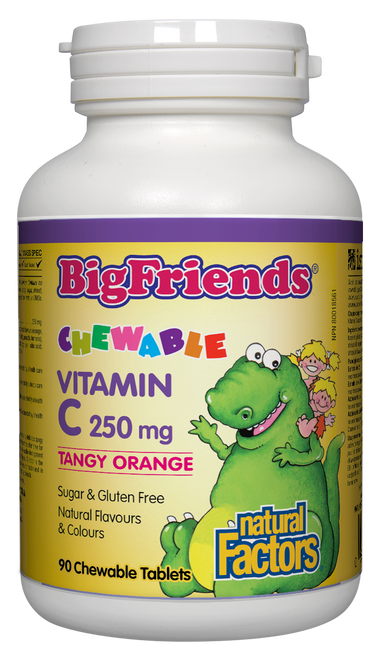 Natural Factors: Big Friends Vitamin C (250mg) Tangy Orange (90 Chewable Tablets)