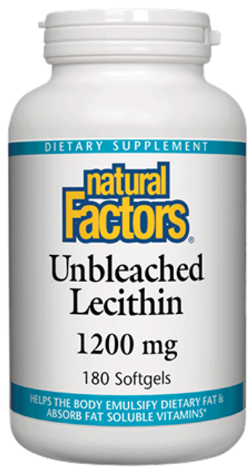 Natural Factors: Unbleached Lecithin (1200mg) (180 Soft Gels)