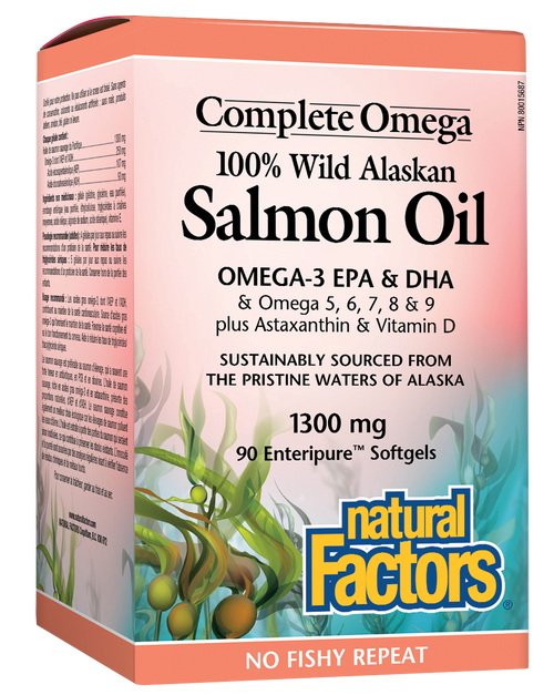 Natural Factors: 100% Wild Alaskan Salmon Oil (1300mg) (90 Softgels)