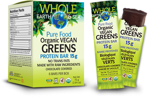Natural Factors Whole Earth & Sea Organic Vegan Greens Protein Bar (6x75g)