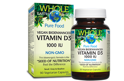 Whole Earth & Sea: Vitamin D3 (1000iu) Vegan Bioenhanced Non-GMO (90 Vegetarian Capsules)