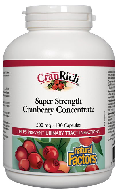 Natural Factors: CranRich Cranberry Concentrate Super Strength (500mg) (180 Capsules)