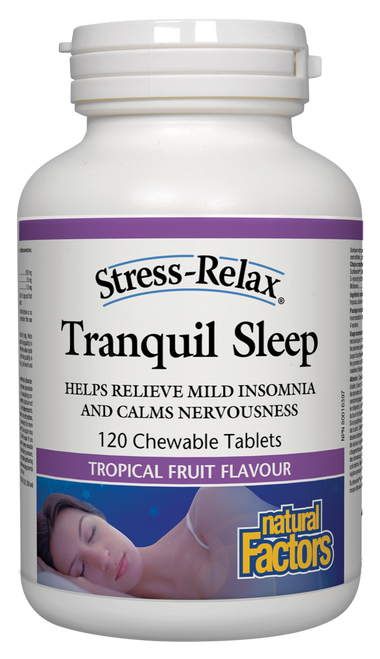 Natural Factors: Stress-Relax Tranquil Sleep Tropical Fruit Flavour (120 Chewable Tablets)