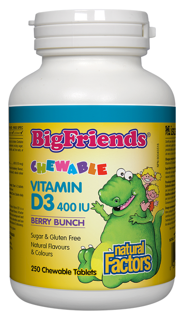 Natural Factors: Big Friends Chewable Vitamin D3 400IU - Berry Bunch (250 Chewable Tablets)