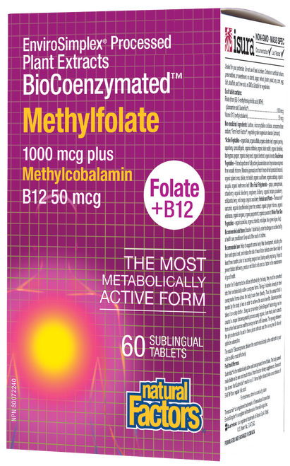 Natural Factors: BioCoenzymated Methylfolate 1000 mcg Plus Methylcobalamin B12 50 mcg (60 Sublingual Tablets)