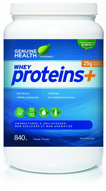 Genuine Health Whey Proteins+ - Unsweetened & Unflavoured (840g)