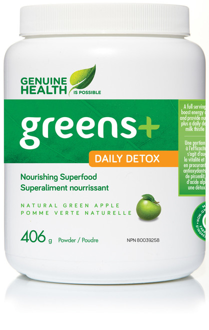 Genuine Health: Greens+ Daily Detox - Natural Green Apple (135g)