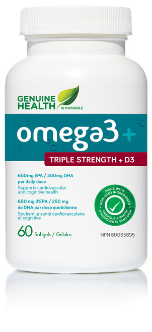 Genuine Health: omega3+ Triple Strength+ D3 (60 SoftGels)