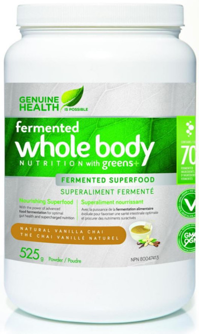 Genuine Health: Fermented Whole Body Nutrition w/ greens+ - Natural Vanilla Chai (525g)