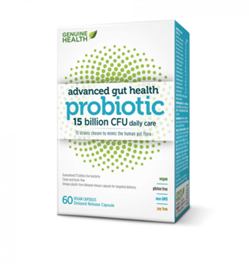Genuine Health: Advanced Gut Health Probiotics (15 billion CFU daily care) (60 Vegan Capsules)