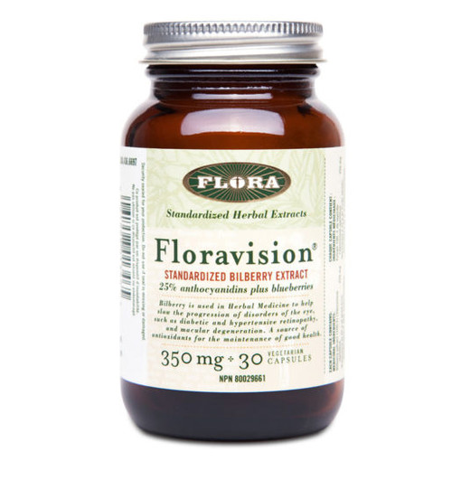 Flora: FloraVision (Standardized Bilberry Extract) (350mg) (30 Vegetarian Capsules)