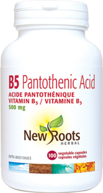 New Roots Herbal: B5 Pantothenic Acid (500mg) (100 Vegetable Capsules)