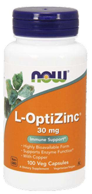 Now: L- OptiZinc With Copper (30mg) (100 Vegetarian Capsules)