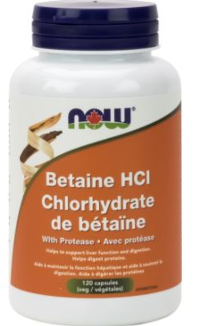 Now: Betaine Hydrochloride with Protease (120 Capsules)