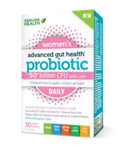 Genuine Health Women's Advanced Gut Health  Probiotic (50 Billion CFU daily care) (30 Vegan Capsules)