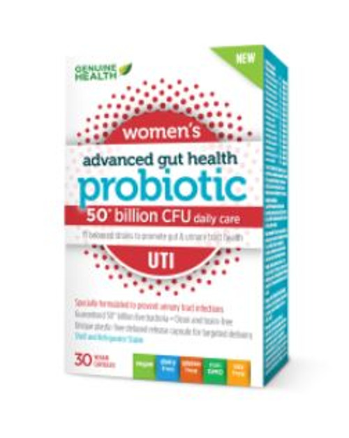 Genuine Health Women's Advanced Gut Health Probiotic (50 Billion daily care) - UTI (30 Vegan Capsules)