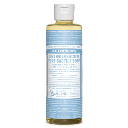 Dr. Bronner's Magic Soap: 18 in 1 Castile Liquid Soap - Unscented Baby (237ml)