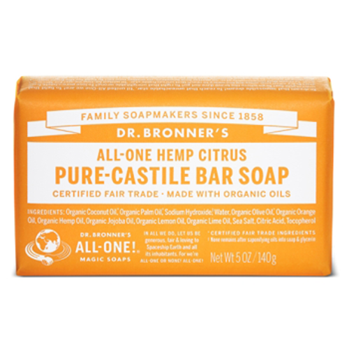 Dr. Bronner's Magic Soap: Citrus Pure Castile Bar Soap (140g)
