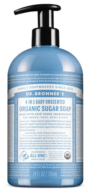 Dr. Bronner's Magic Soap: 4 in 1 Sugar Baby Unscented Organic Pump Soap (710ml)