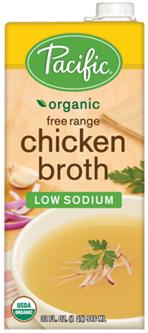 Pacific: Organic Chicken Broth Low Sodium (946ml)
