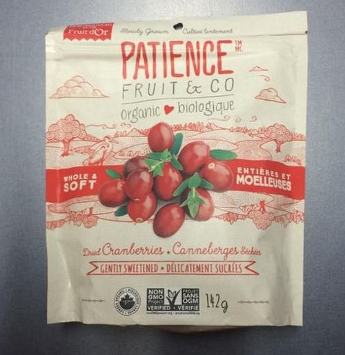 Patience Fruit & Co.: Whole And Soft Organic Dried Cranberries - Gently Sweetened (142g)
