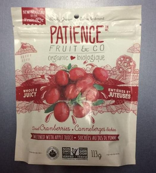 Patience Fruit & Co.: Whole & Juicy Dried Cranberries - Sweetened With Apple Juice (113g)