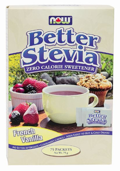 Now: Better Stevia Sweetener French Vanilla (75 Packets)
