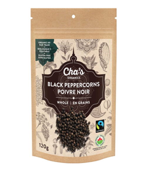 Cha's Organics: Whole Black Peppercorns (120g)
