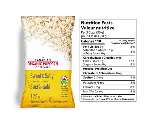 The Canadian Organic Popcorn Company: Gourmet Popcorn - Sweet & Salty (125g)