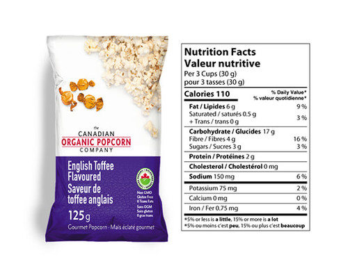 The Canadian Organic Popcorn Company: Gourmet Popcorn - English Toffee (125g)