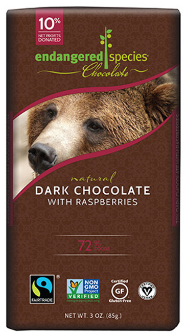 Endangered Species: Grizzly Dark Chocolate with Raspberries (85g)