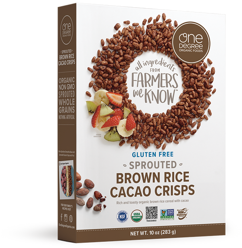 One Degree Organic: Veganic Sprouted Brown Rice Cocao Crisps (284g)
