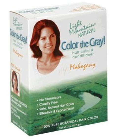 Light Mountain Natural: Colour the Gray! Hair Colour & Conditioner - Mahogany (198g)