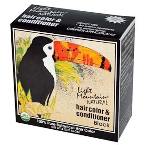 Light Mountain Natural: Hair Colour & Conditioner - Black (113g)