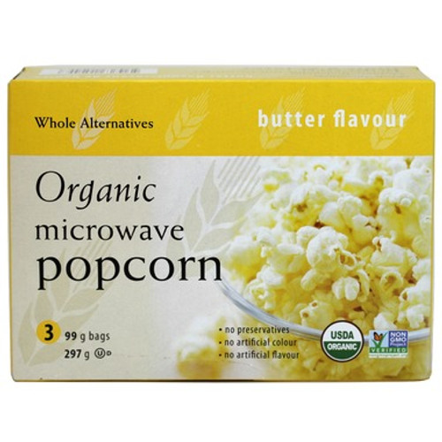 Whole Alternatives Organic Microwave Popcorn - Butter Flavour