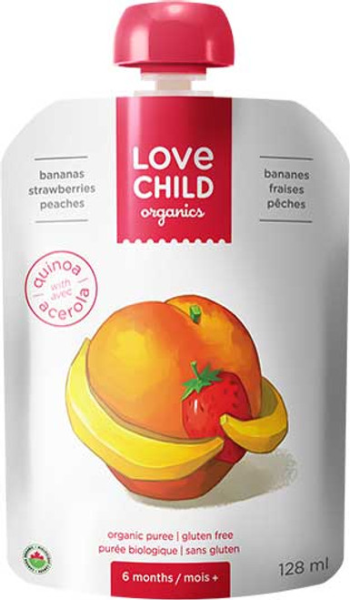 Love Child Organics: Bananas Strawberries Peaches Puree (128ml)