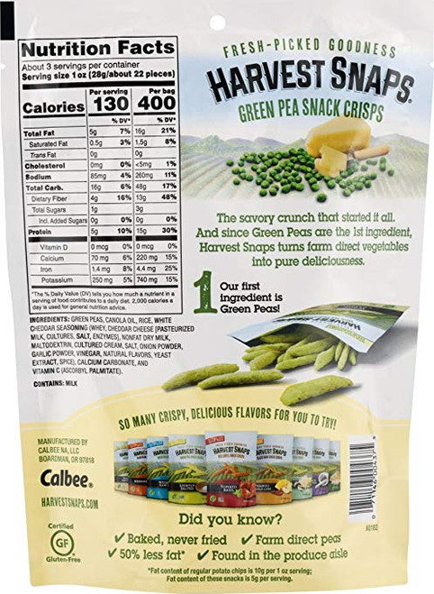 Harvest Snaps: Green Pea Snacks in White Cheddar (85g)