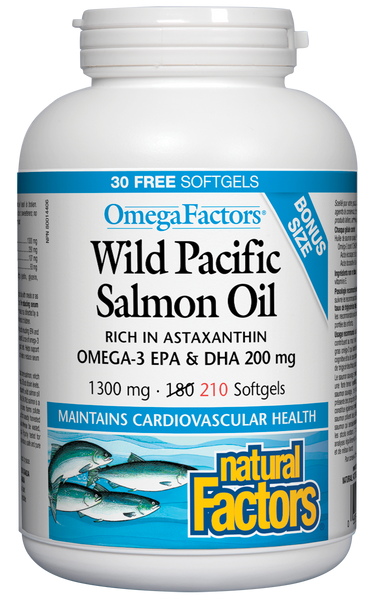 Natural Factors: Wild Pacific Salmon Oil (Bonus Size) (210 Soft Gels)