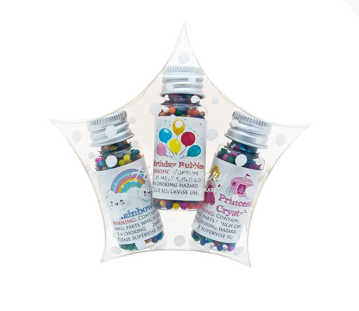 Water Marbles Trio Stars - Birthday Bubbles Princess (Over 40g of water marbles per star!)