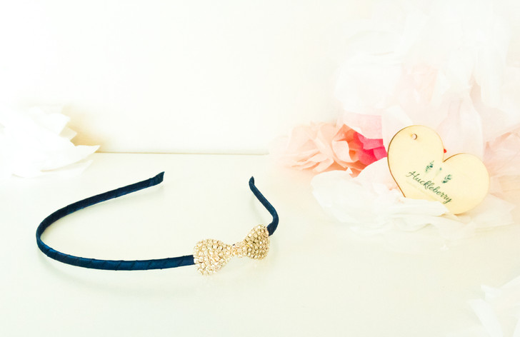 Sparkly Bow Headband - Midnight Blue