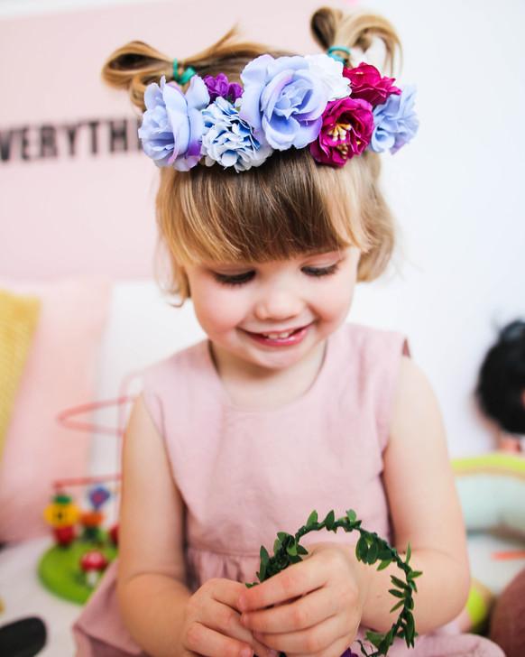 Make Your Own Flower Crown & Bracelet Set - Blue