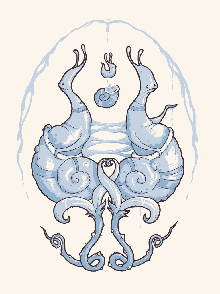 Snail Brothers Letterpress Print
