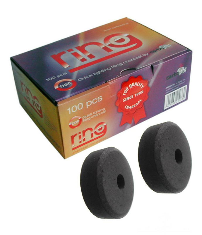 Carbopol RING Charcoal 38mm - Box of 20 Rolls (Total 100 Pieces)