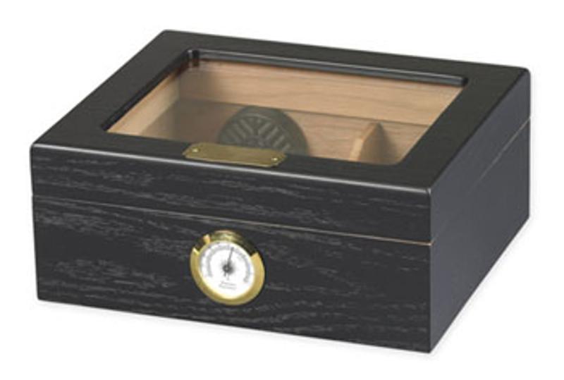 Humidor - Capri Glasstop 25 Count Black Oak...Sale!