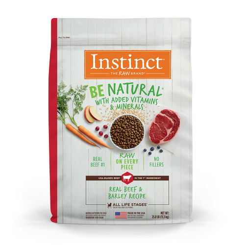 Instinct Be Natural Freeze-Dried Raw-Coated Dog Kibble, Real Beef & Barley - 25 lb