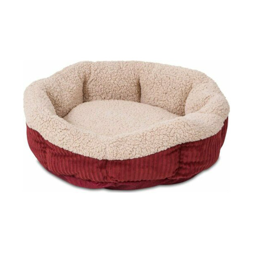 Aspen Pet 19-in Self-Warming Oval Lounger Cat & Dog Bed, Spice/Cream