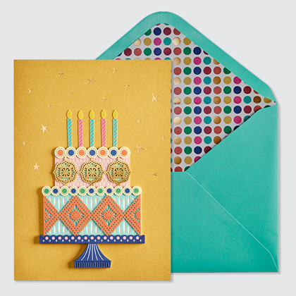 NIQUEA.D Birthday Cake card with turquoise envelope and metallic multi-colored dot card lining