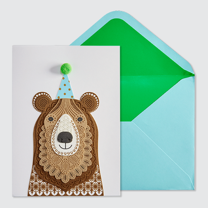 NIQUEA.D Bear with Hat laser cut card and light blue envelope with green liner